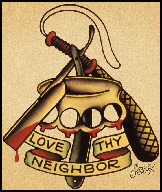 Sailor Jerry Tattoo Art Love Thy Neighbor Photo Print