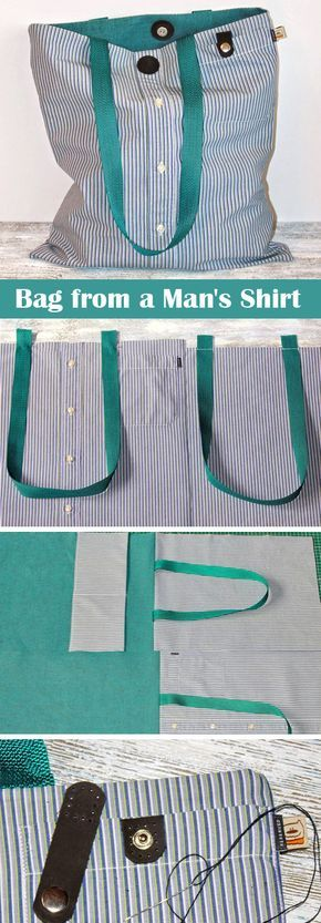 Bag from a Man's Shirt Tutorial #recycledcrafts