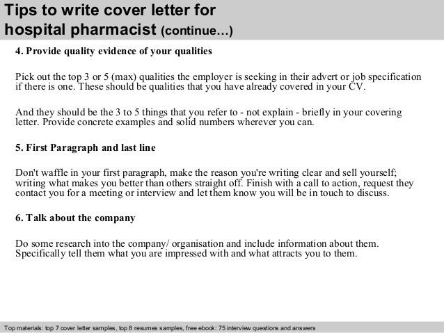 Tips Write Cover Letter For Hospital Pharmacist Continue Sample