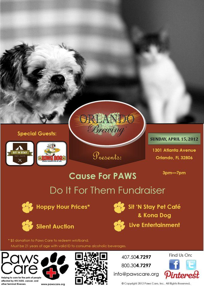 Paws Care is having a fundraiser on 04/15 at Orlando Brewing