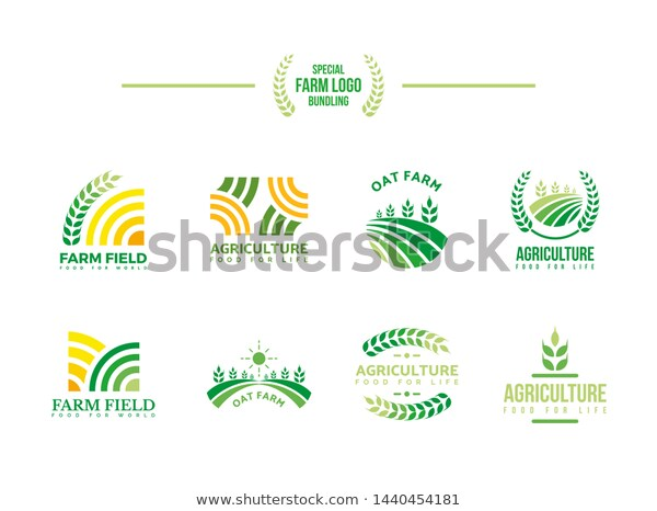 Farm Logo Bundling Agriculture Emblem Farming Stock Vector Royalty Free 1440454181 Farm Logo Logo Design Vector Logo