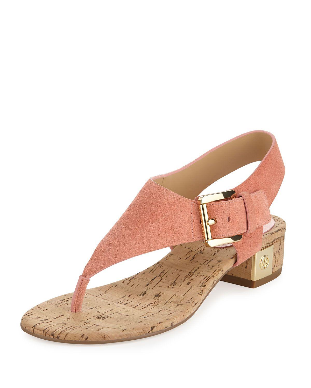dc312ead6d MICHAEL Michael Kors London Suede Low-Heel Thong Sandal, Peach (Pink ...