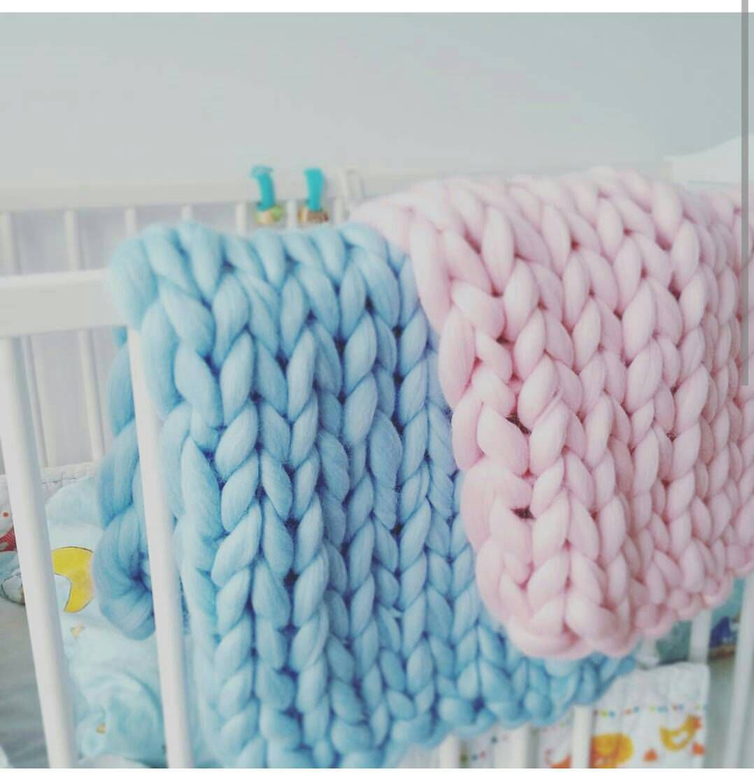 Giant knitted Baby blaket Chunky Knit Throw Merino Wool Blanket Nursery decor gift UK seller