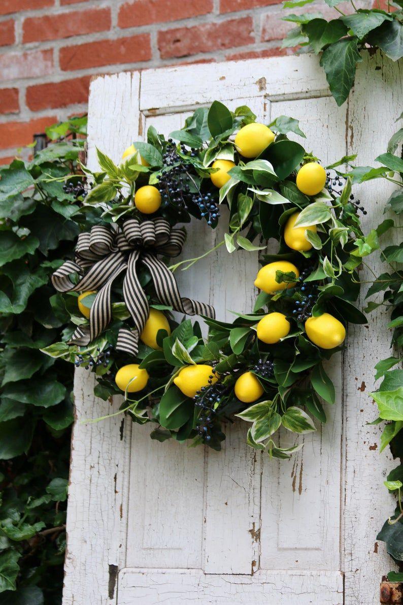 Photo of Lemon wreath for Front door, Farmhouse wreath, Lemon wreath, Year Round wreath, Gift for Her, Rustic Kitchen wreath, Double Door wreath