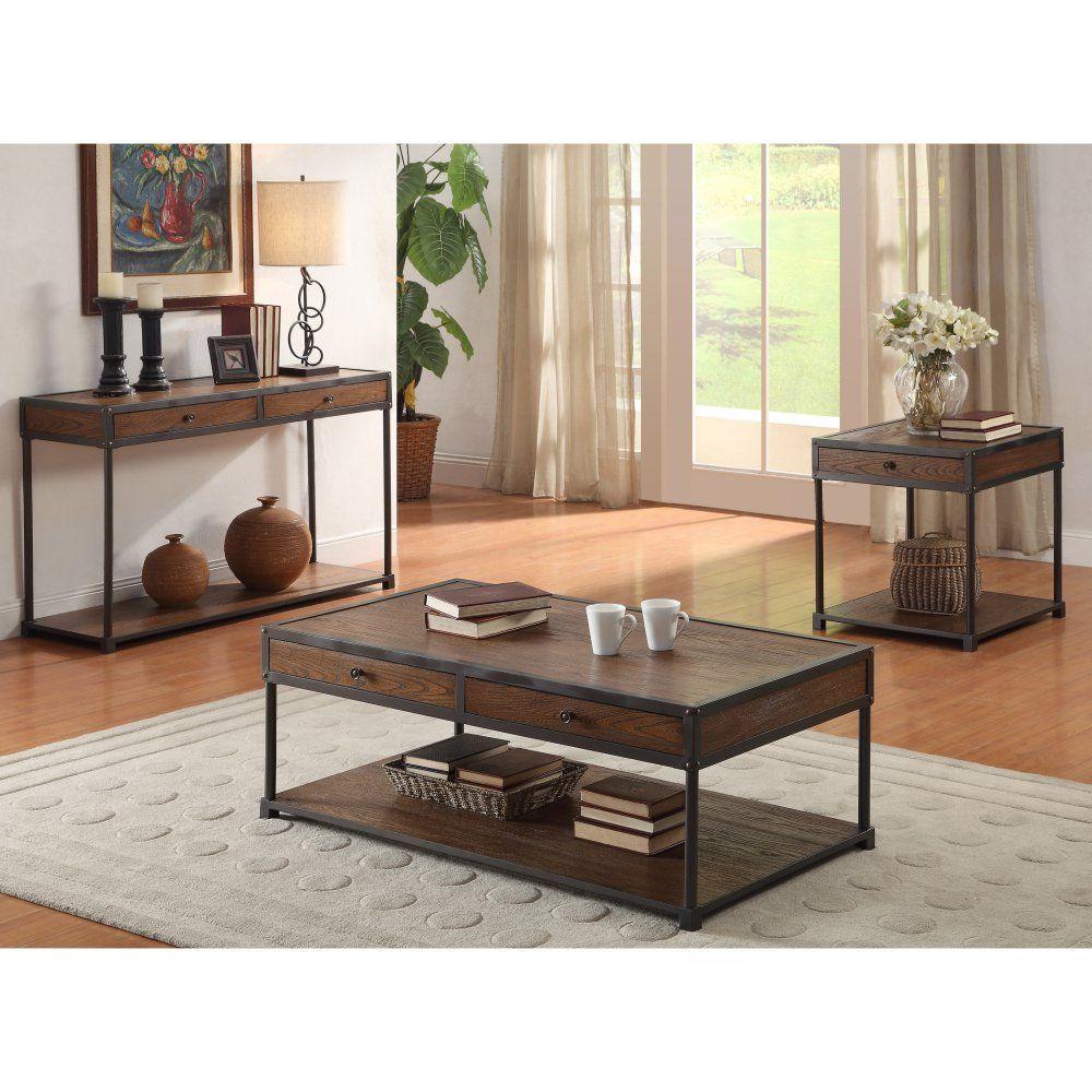 Furniture Of America Rustin Dark Oak Coffee Table With Natural Wood Grain Tone Www Hayneedl Coffee Table Living Room Table Sets Coastal Living Room Furniture [ 1000 x 1000 Pixel ]