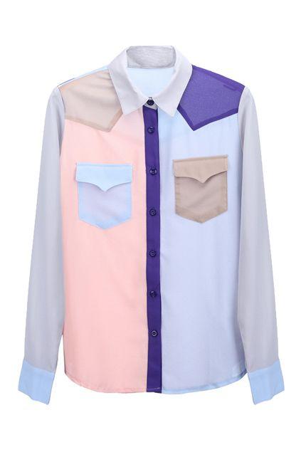 Color Block Chiffon Shirt  $35.90