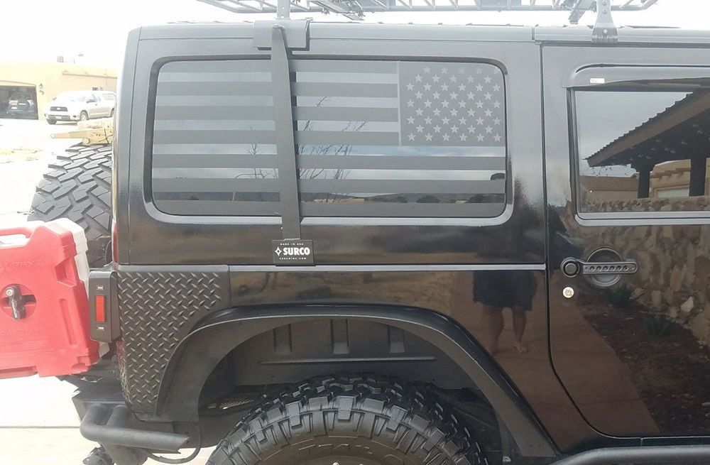 4d013463 American Flag Rear Window Decals For 2007-2017 Jeep Wrangler JKU Matte  Black 2PK #lilcowboy