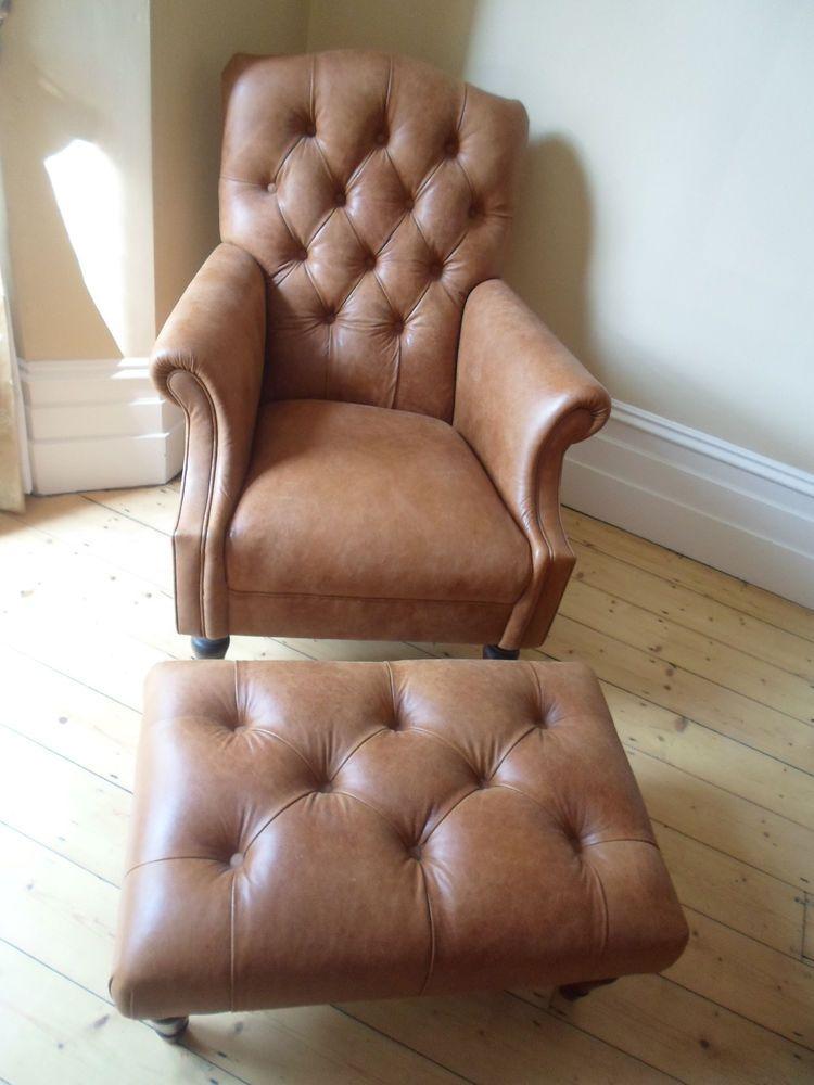Laura Ashley Tan Leather Lancaster Colorado Armchair Footstool Immaculate Comfy Armchair Armchair Footstool