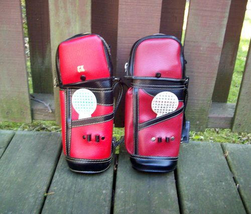 Vintage Golf Buddy Bottle Carrying Bags with 2 Cups Hong Kong Lot of 2