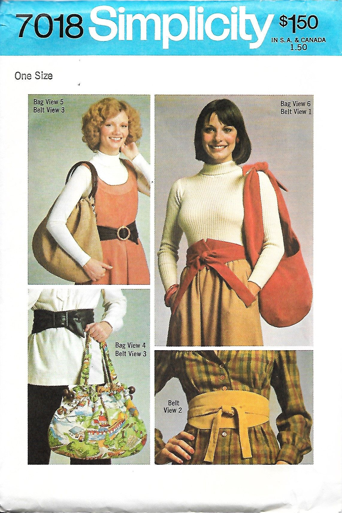 Simplicity 7018 Misses Belts And Bags Sewing Pattern, UNCUT