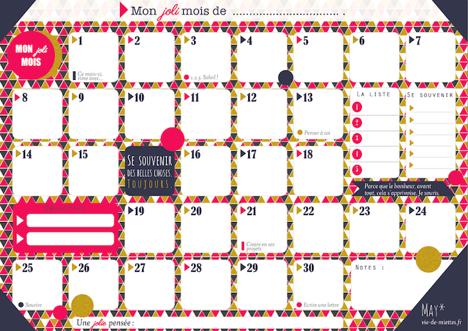 Planning mensuel