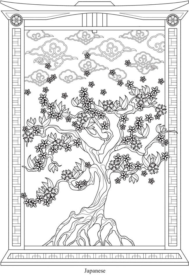 From Creative Haven Trees Of Life Coloring Book Dover
