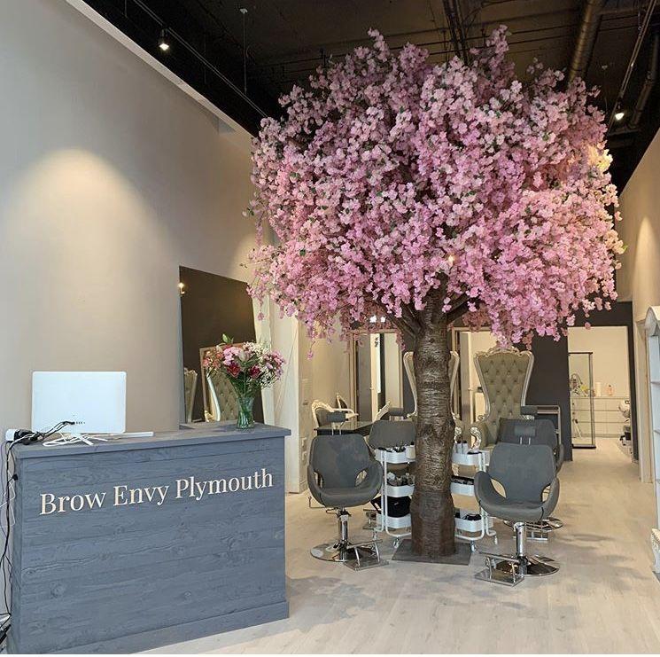 Artificial Pink Blossom Tree Brow Envy Hairdressers Beauty Salon Decor Hair Salon Interior Salon Decor