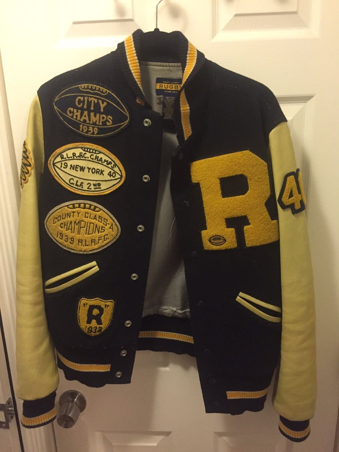 35812b14 Polo Ralph Lauren Rugby Genuine Leather Varsity Jacket Size S $405 - Grailed