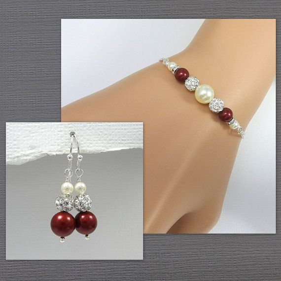 Swarovski Bordeaux and Ivory Pearl Bracelet, Bridesmaid Bracelet, Wine Red Bracelet and Earrings, Bridesmaid Jewelry Set, Wedding Bracelet
