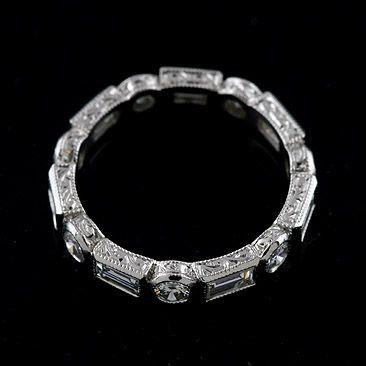 3382d72beb4e8 14K Gold Baguette Round Diamond Hand Engraved Wedding Band | Wedding ...