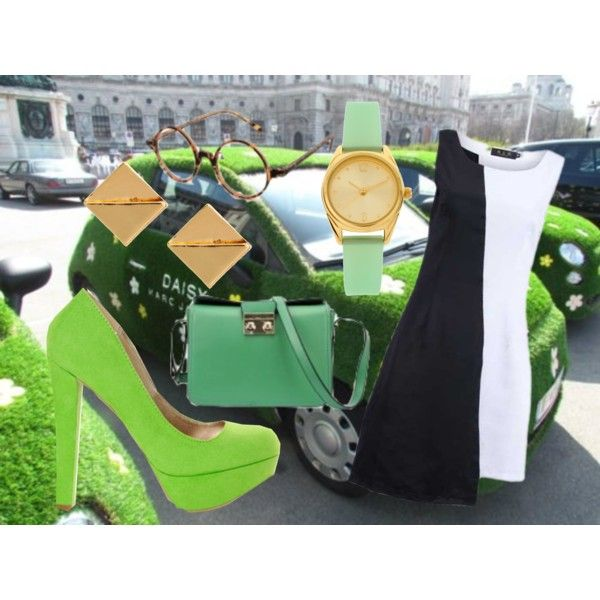 Monochrome Green, created by rebeccaalonzo on Polyvore