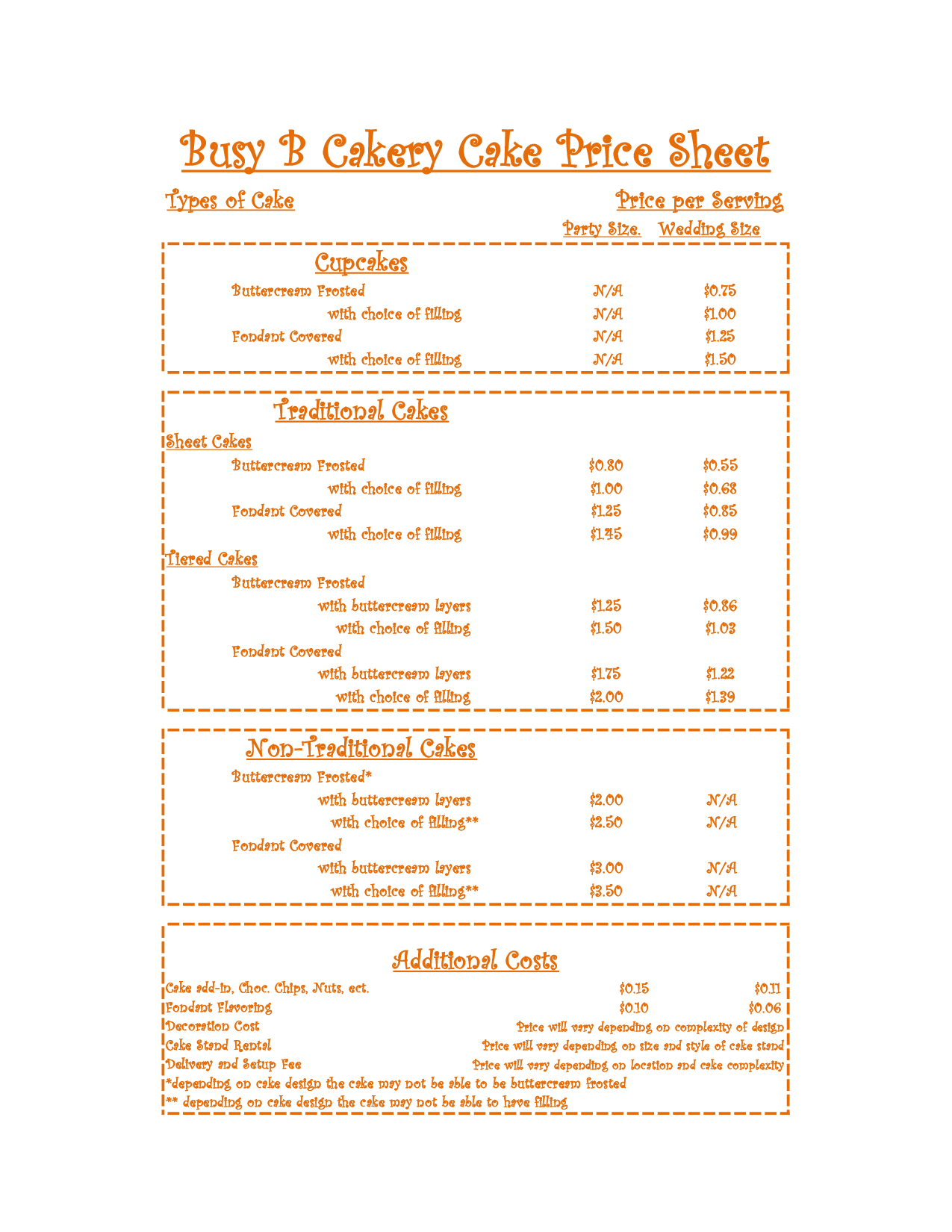 Cake Pricing Guide Busy B Cakery Cake Price Sheet Future