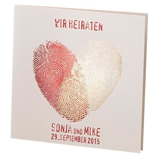 "Wedding invitation ""Bobby"" with heart-shaped fingers"