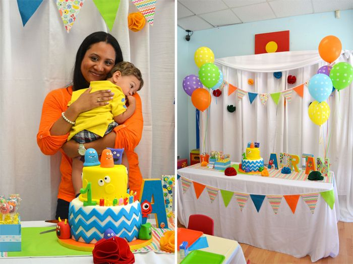 colorful monster 1st birthday from ever after event floral design
