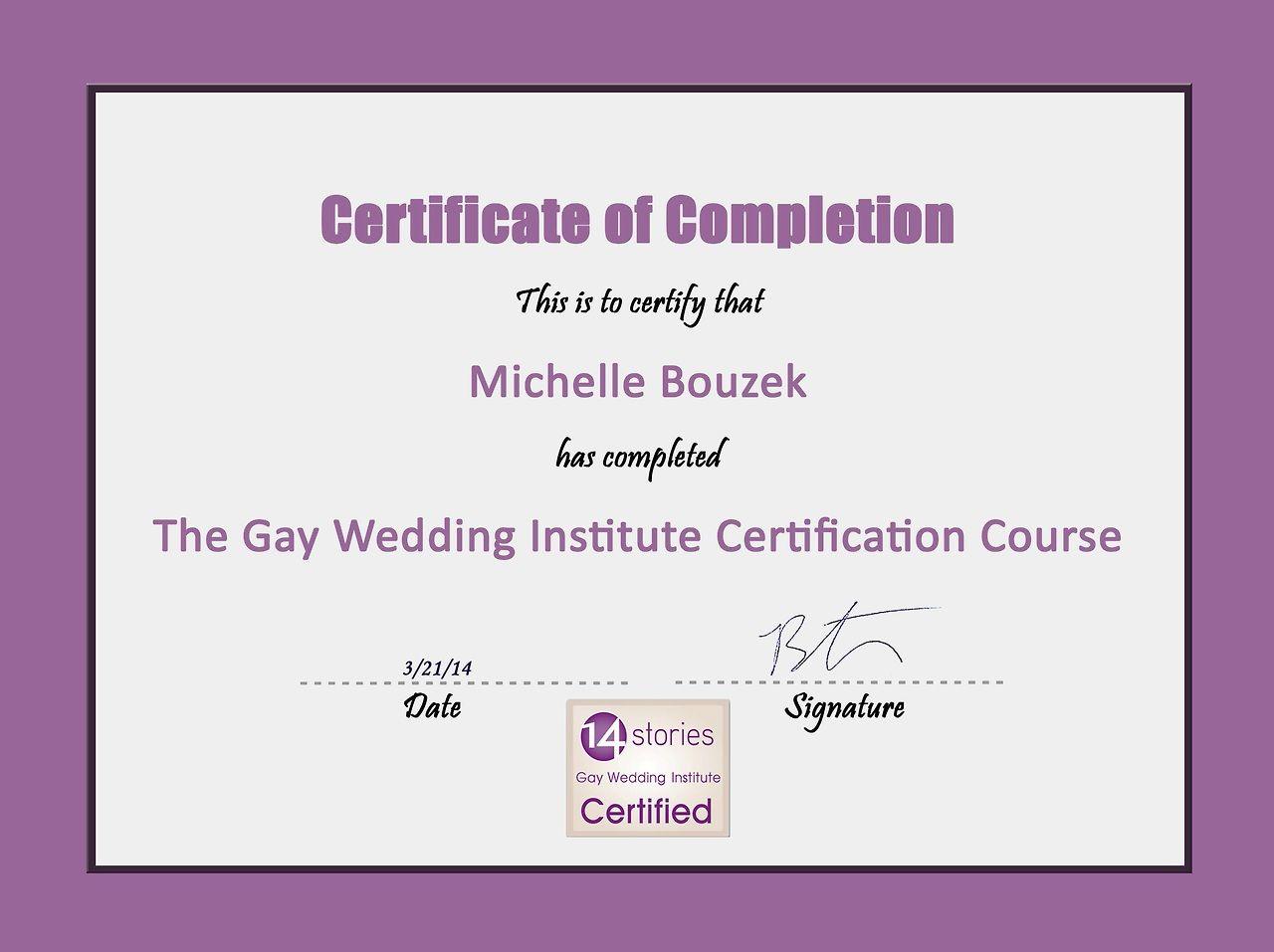 Gay Wedding Institute Certification Destinationwedding Wedding