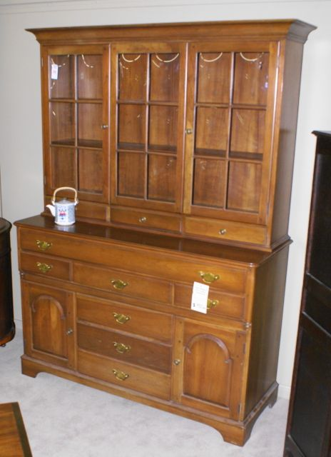 Solid Cherry Arch Door Step Back Hutch With Bubble Gl Top Signed Pennsylvania House Circa 1950s 389 00