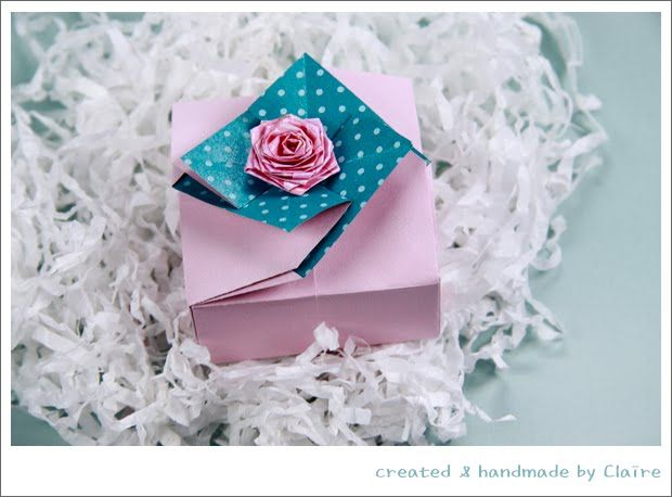 Claire's paper craft: Beautiful Gift Box- paper craft. Tutorial on how to make.