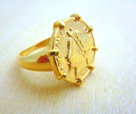 dcb5460c4ebdf Coin Ring for women -Gold Filled gold coin ring Coin Jewelry gift ...