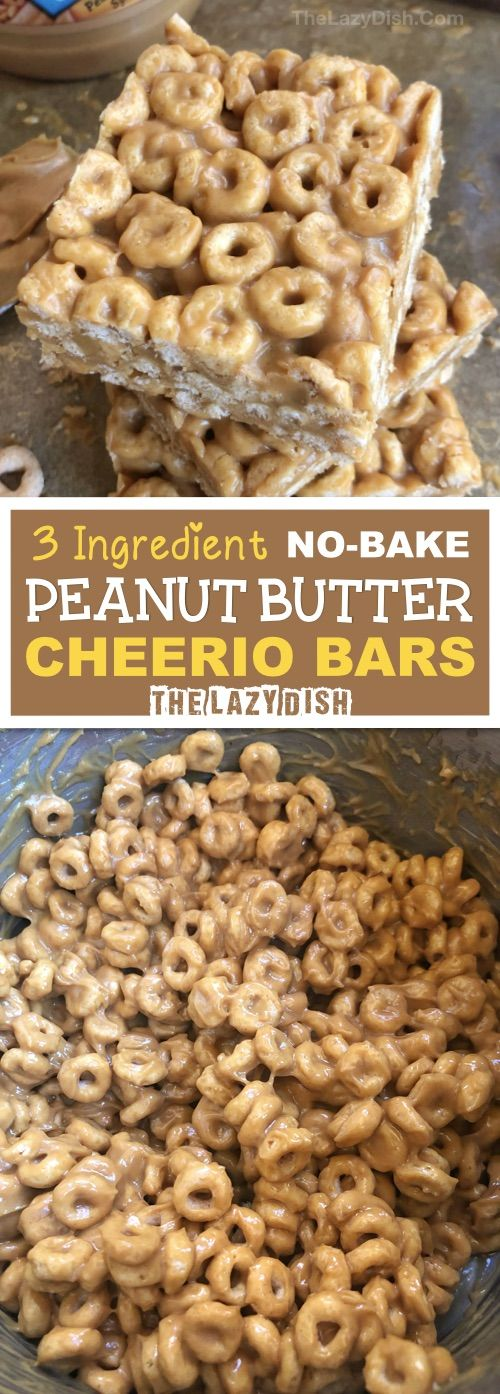 3 Ingredient Peanut Butter Cheerio Bars - The Lazy Dish #peanutrecipes