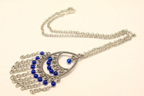CLEARANCE-50% OFF-Bohemian Necklace with Cobalt Blue by byBrendaElaine, $13.00