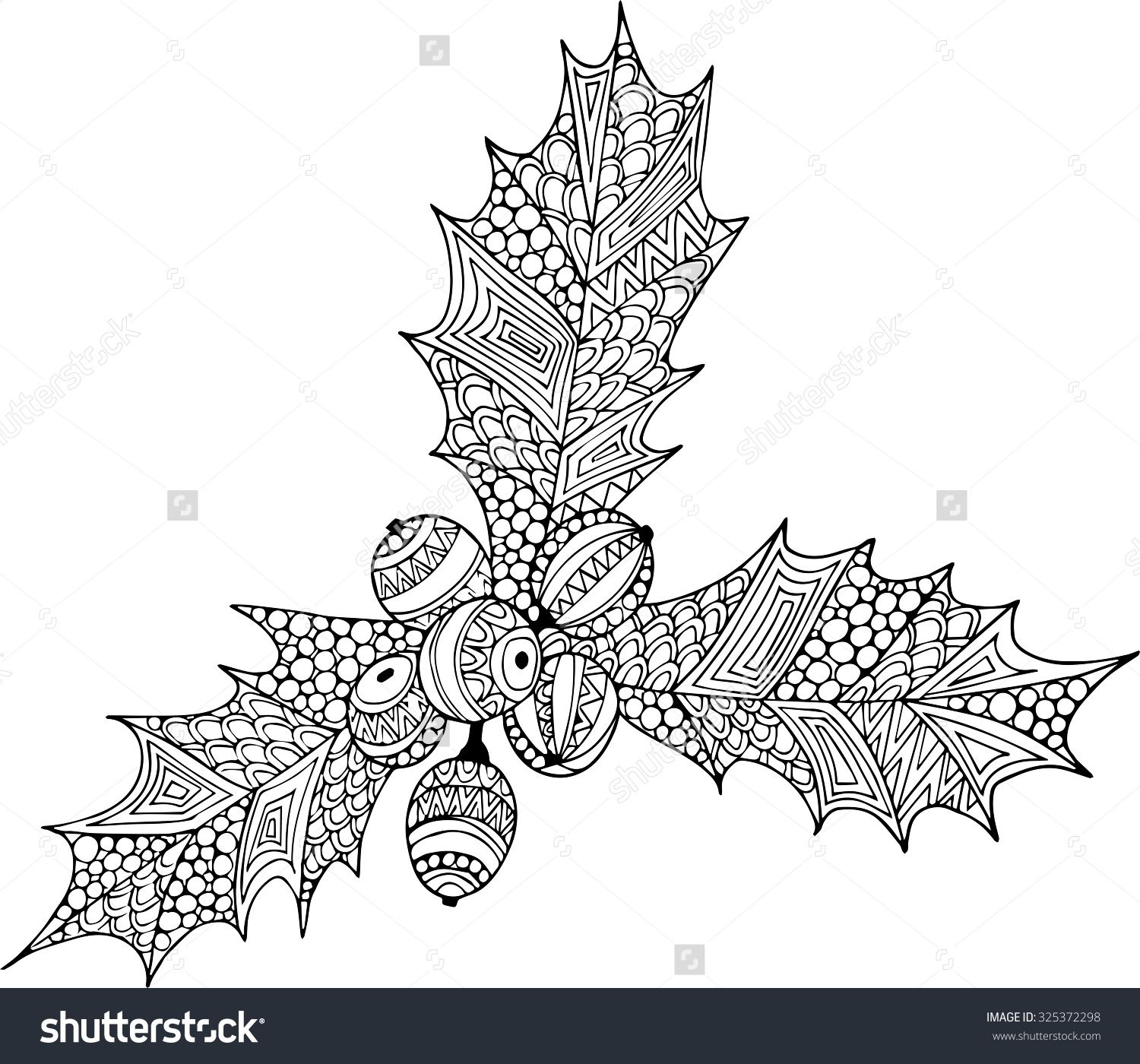 Hand Drawn Outline Christmas Holly Illustration Decorated With ...
