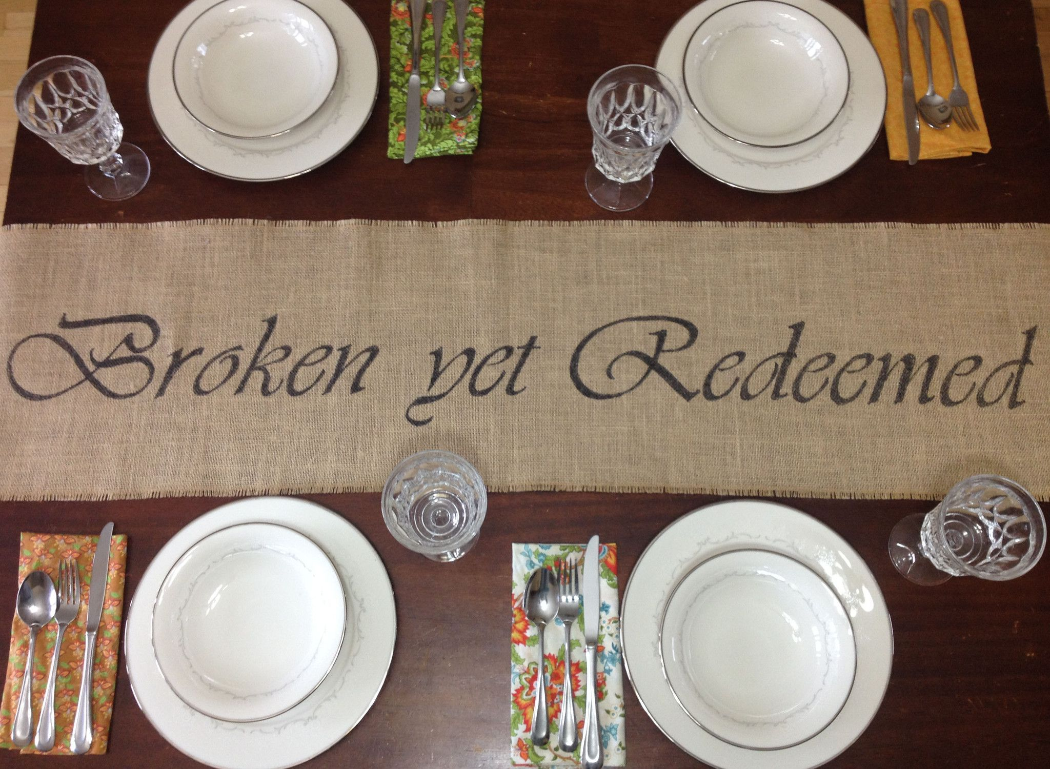 Burlap Broken Yet Redeemed Table Runner