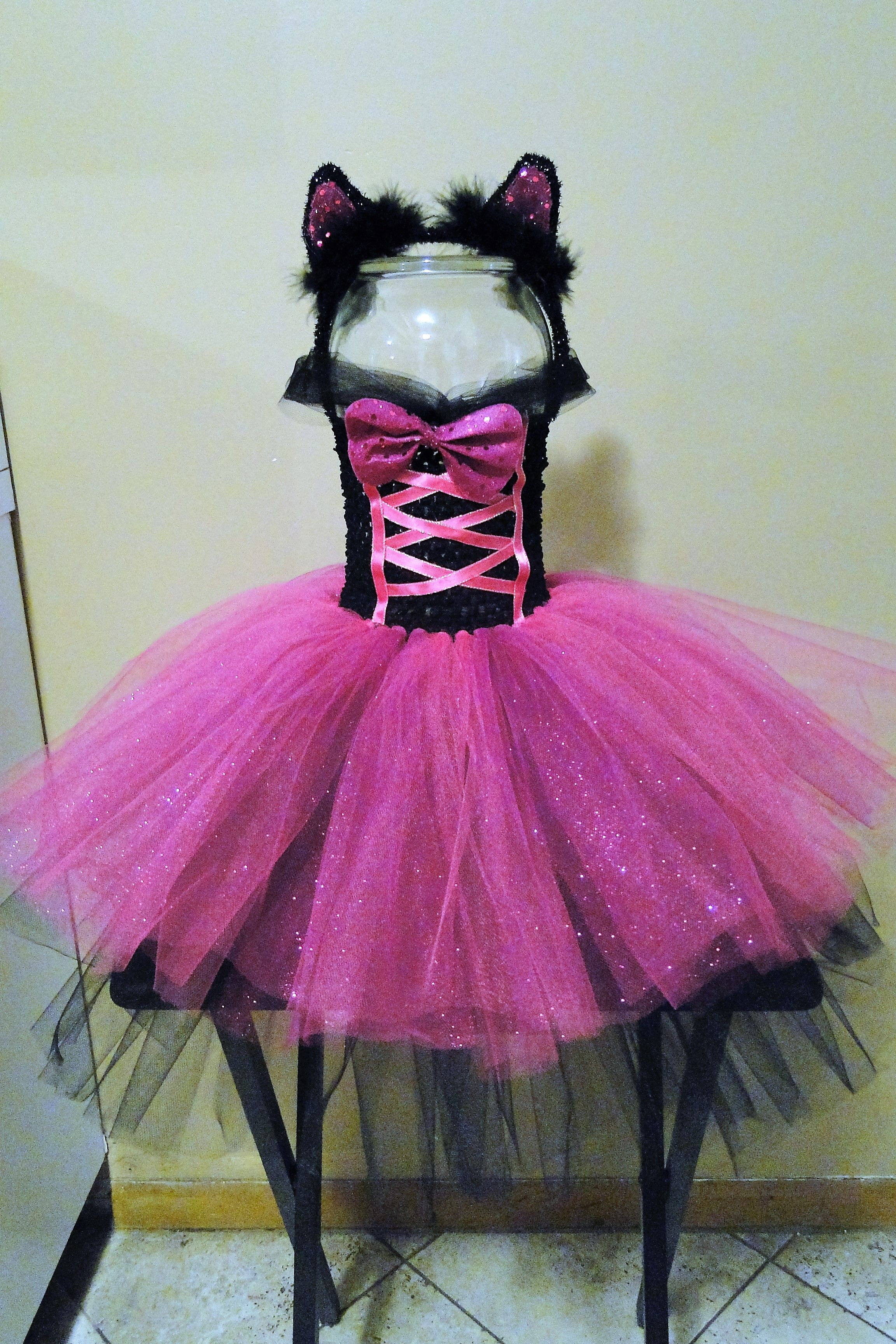 Toddler girls 2t/4t pink, fuchsia & black cat Halloween costume with tail…
