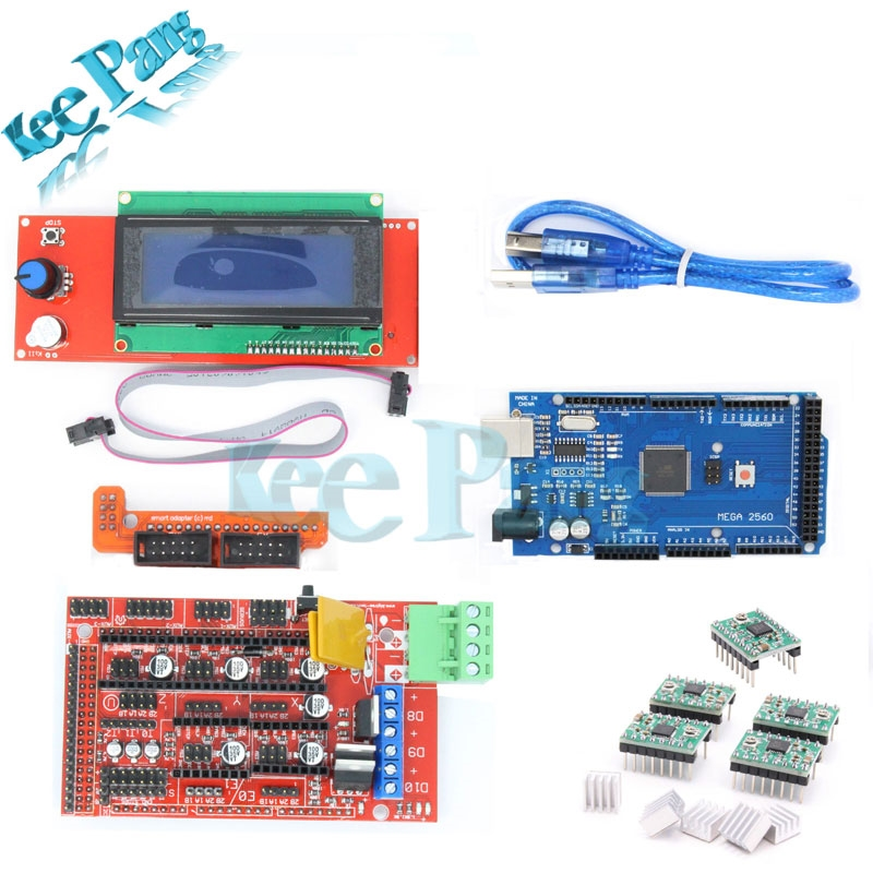 34.85$  Watch more here - http://aicj4.worlditems.win/all/product.php?id=32439860393 - 1pcs Mega 2560 R3 + 1pcs RAMPS 1.4 Controller + 5pcs A4988 Stepper Driver Module /RAMPS 1.4 2004 LCD control for 3D Printer kit