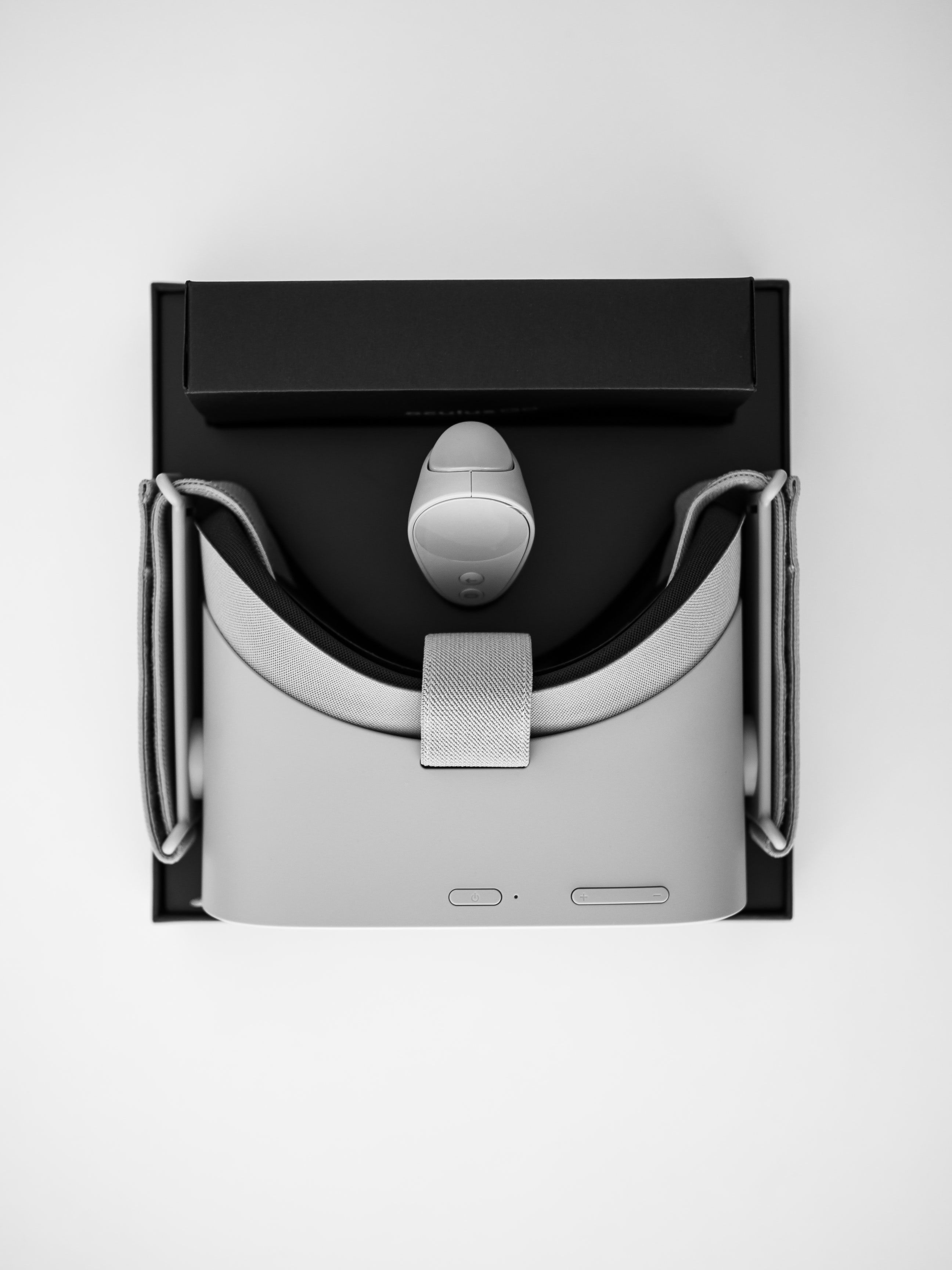 black and gray VR headset with box Vr headset, Iphone