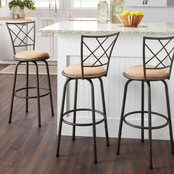 Cool Adjustable Swivel High Back Kitchen Stools Set Of 3 Area Ibusinesslaw Wood Chair Design Ideas Ibusinesslaworg