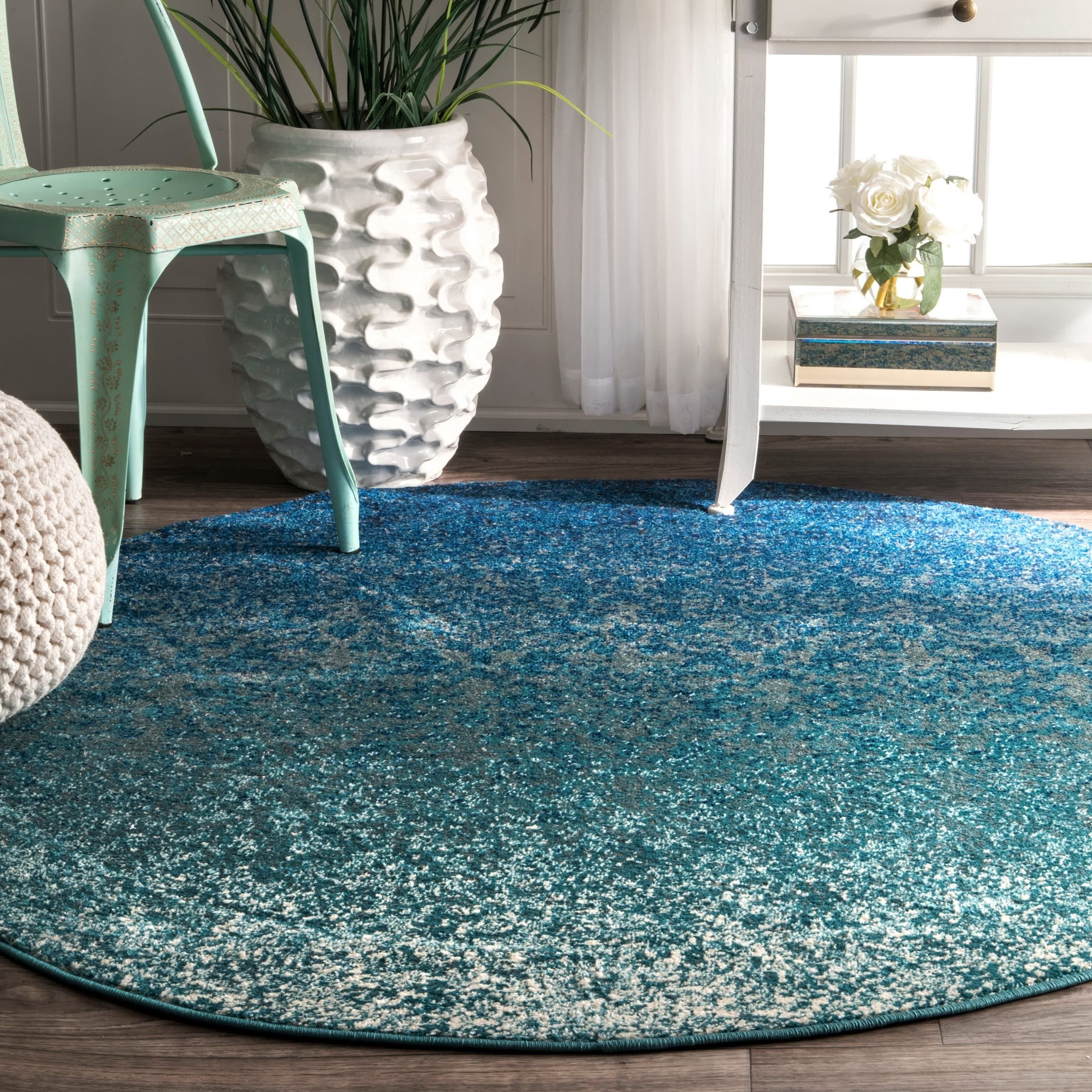 Teppich Oval Modern Nuloom Modern Abstract Vintage Turquoise Round Rug 5 3 Round