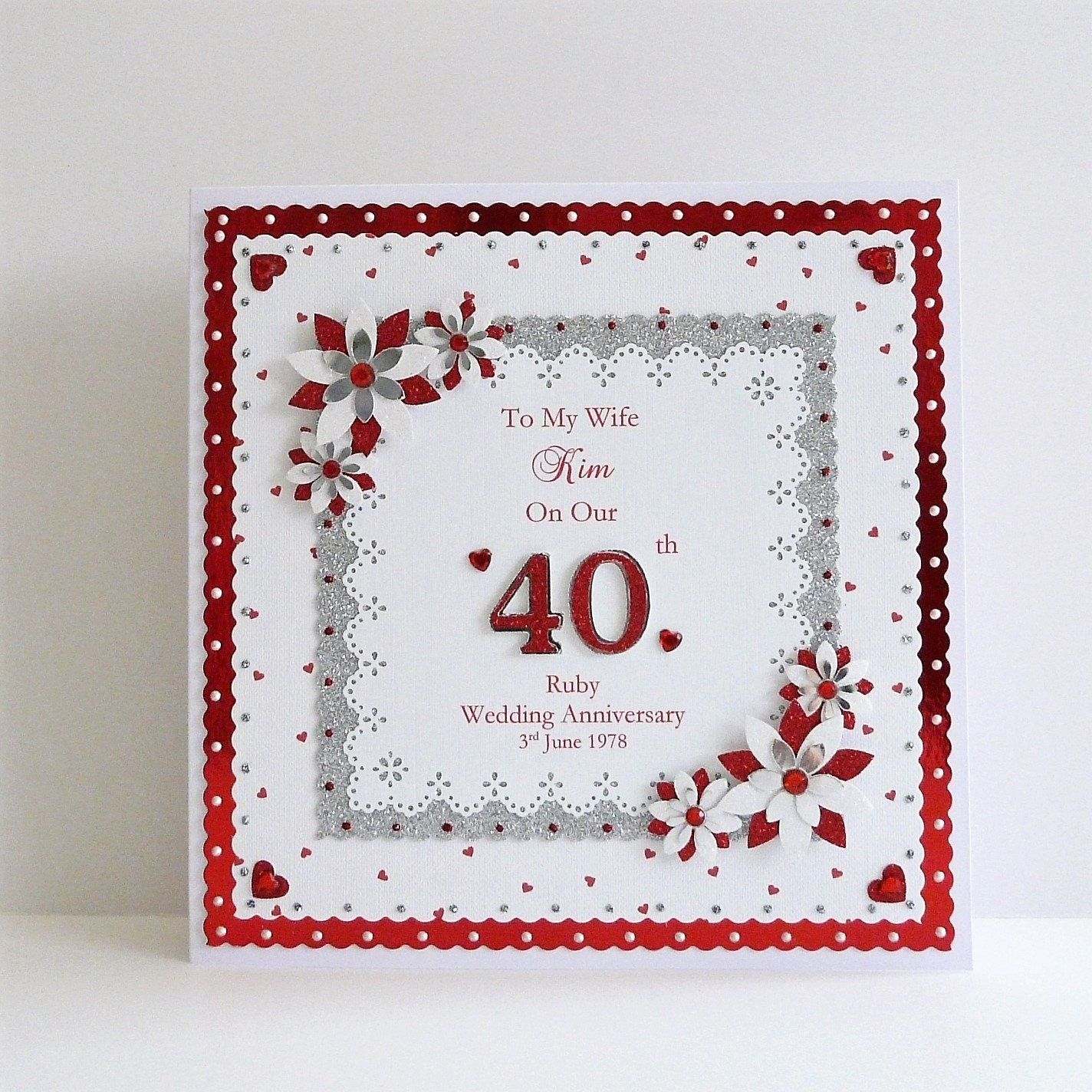 40th Ruby Wedding Anniversary Card Wife Husband Mum Dad Nan Grandad Etc Wit Wedding Anniversary Cards 30th Wedding Anniversary Card Anniversary Cards Handmade