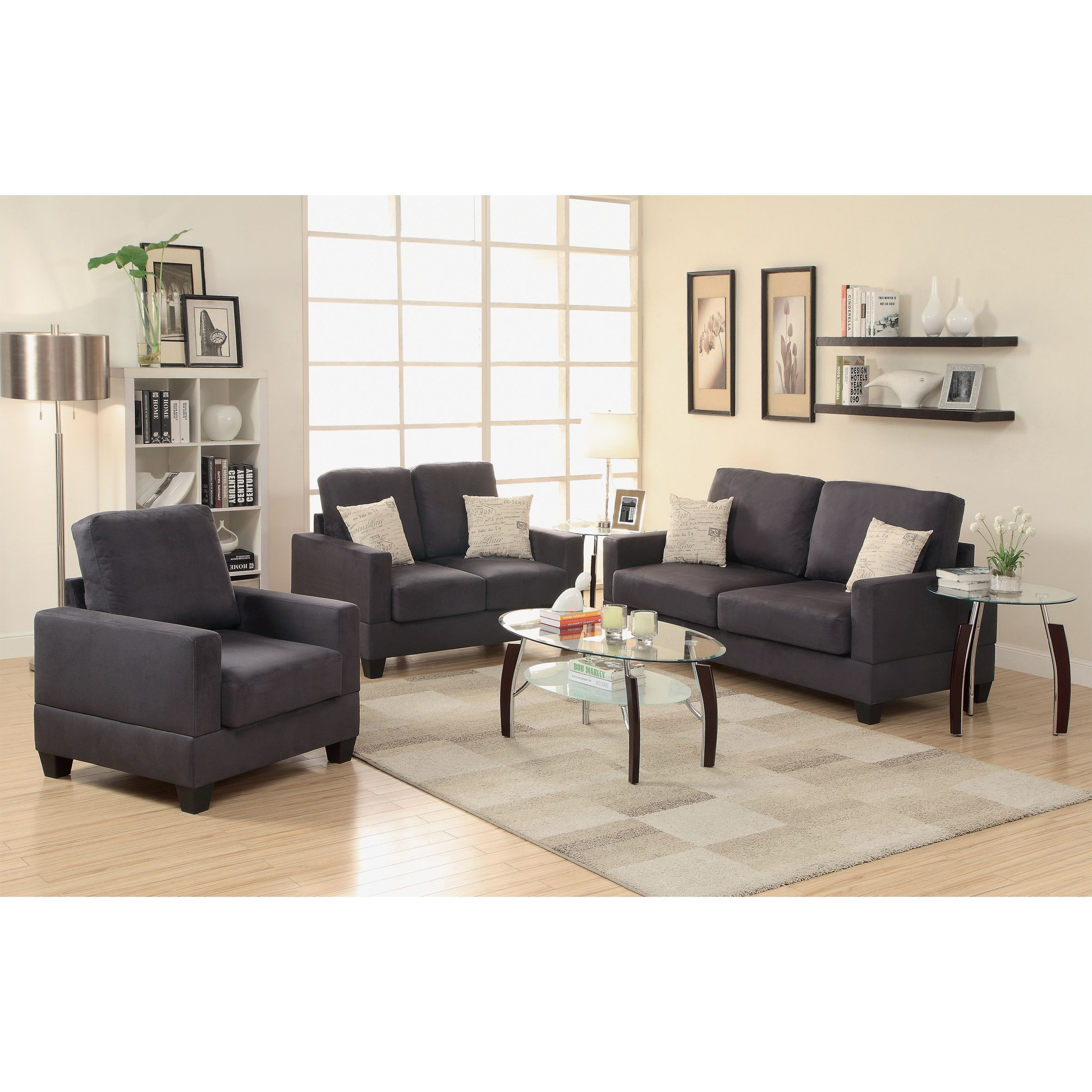 Bobkona madison piece sofa and loveseat with chair set