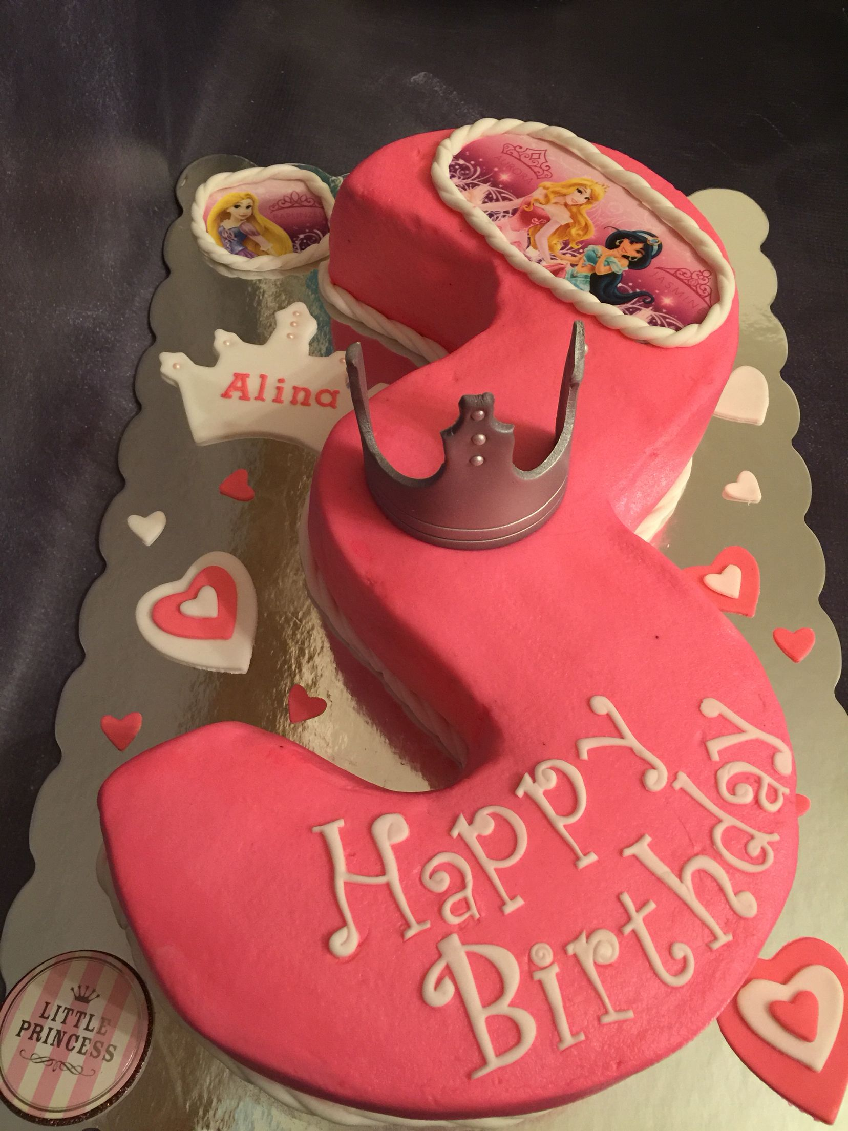 Princess themed birthday cake hand carved number 3 Cakes Ive