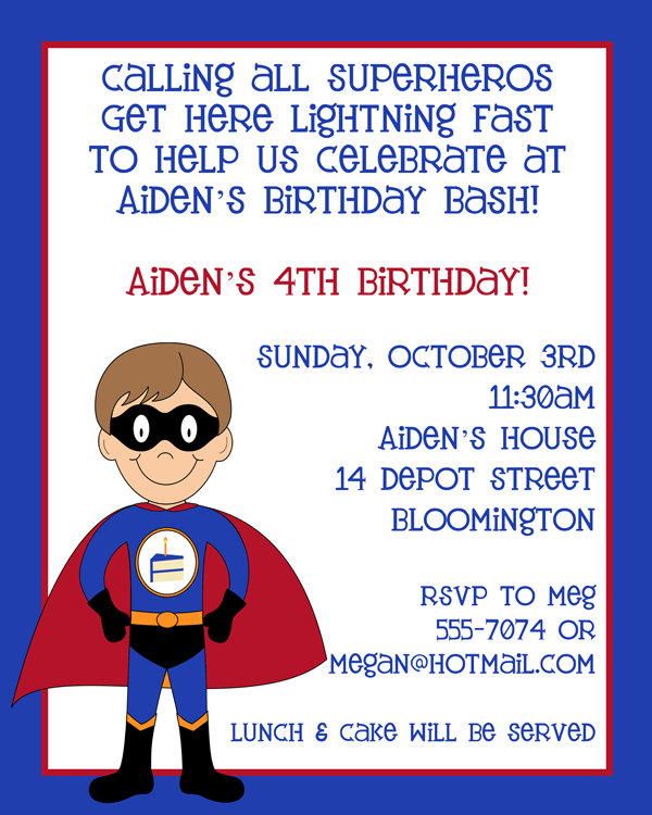 Superhero Birthday Party Invite Got For Jakes 4th