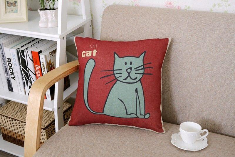 Poszewka Na Poduszke Kot Nadruk Wzory Len Bawelna 5651390355 Oficjalne Archiwum Allegro Throw Pillows Pillows Decor