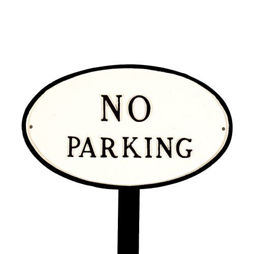 Montague Metal Products SP2SWBLS Standard White and Black No Parking Oval Statement Plaque with 23Inch Lawn Stake *** Want to know more, click on the image.
