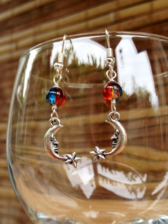 Red Blue Moon Earrings,Silver Moon Star Earrings,Lava Aqua Glass Bead,Crescent Moon Star Charm,Celestial Astrology Jewelry,Handmade Hawaii on Etsy, $14.00