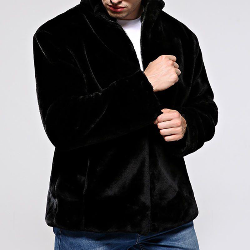 d58d21606ce Mens Faux Fur Coat Winter Warm Stand Collar Casual Trendy Jacket ...