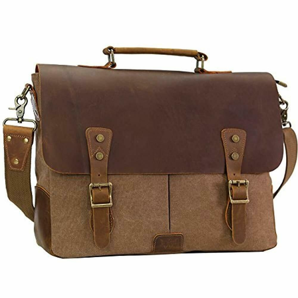 KomalC 15 Inch Black Retro Buffalo Hunter Leather Laptop Messenger Bag Fits Upto 15.6 Inch Laptop Office Briefcase College Bag