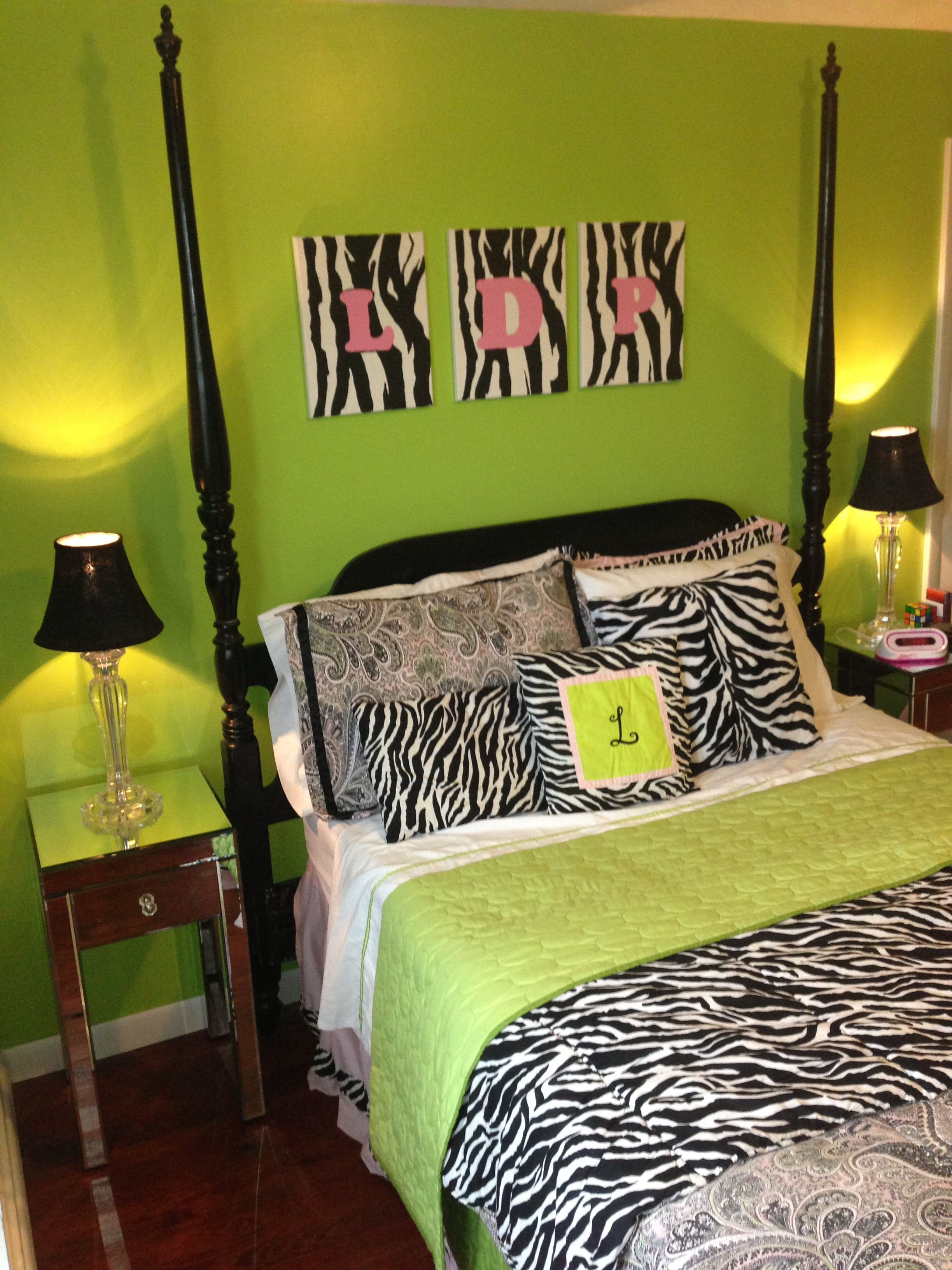 Teen Bedroom. Zebra, Paisley, Lime Green, Pink.. Just