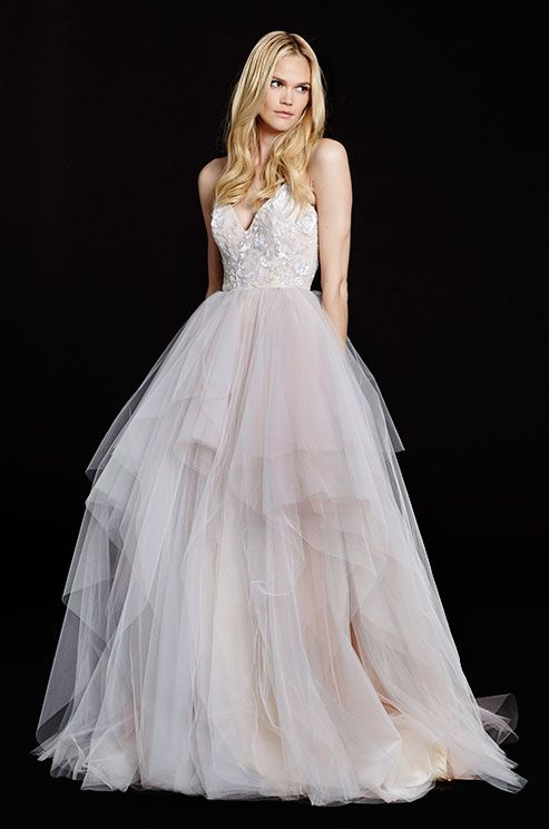 Beautiful blush color pop in this tulle ball gown wedding dress by ...
