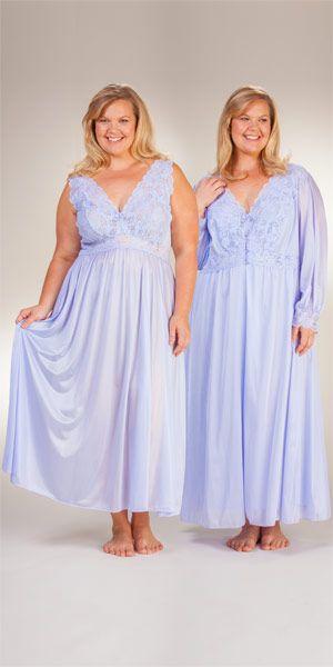 ec4160abd Plus Shadowline Silhouette Long Nightgown Robe Peignoir Set - Peri Frost