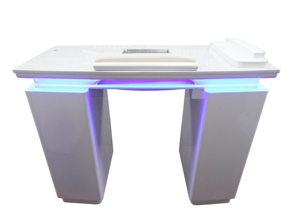 Nail Table Manicure Table White Luxury Stone Top Extractor Fan LED ...